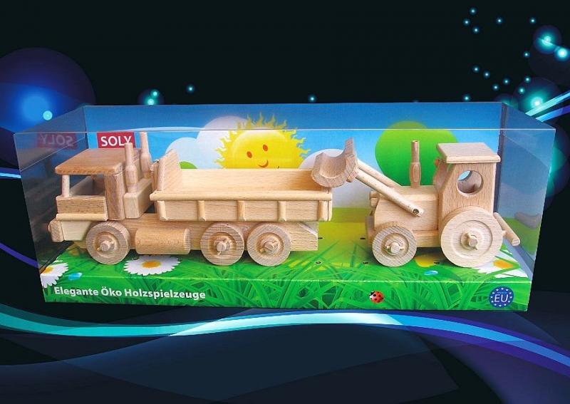 Nákladné auto a Traktor s radlicou | drevené hračky a darčeky