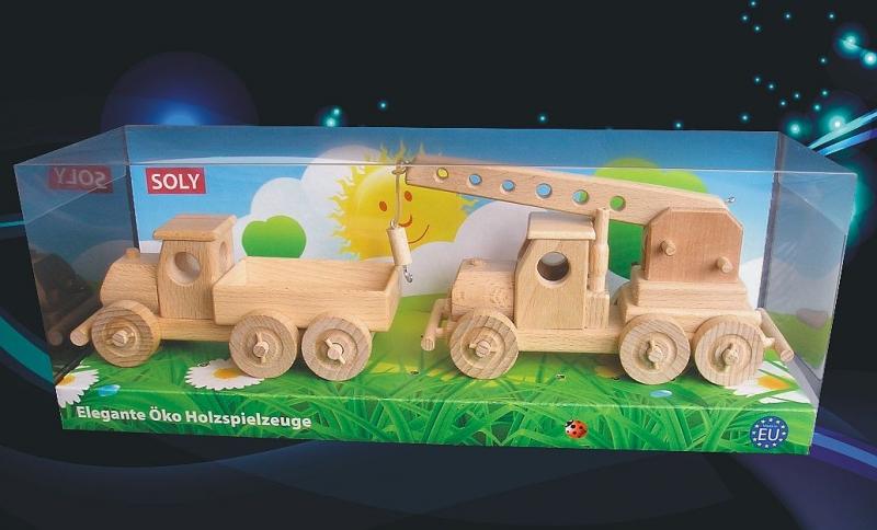 Drevené hračky, náklaďáček pre deti + autožeriav-pro-deti