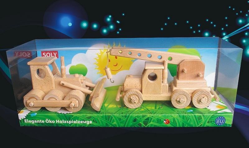 Buldozér + autožeriav | drevené hračky