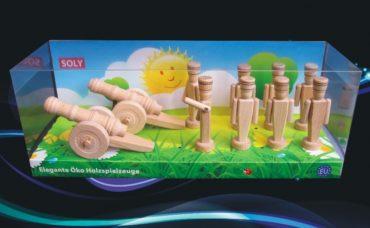 Vojenské drevené hračky, 2x malé delo, kanon + 8x drevený vojačik 90 mm