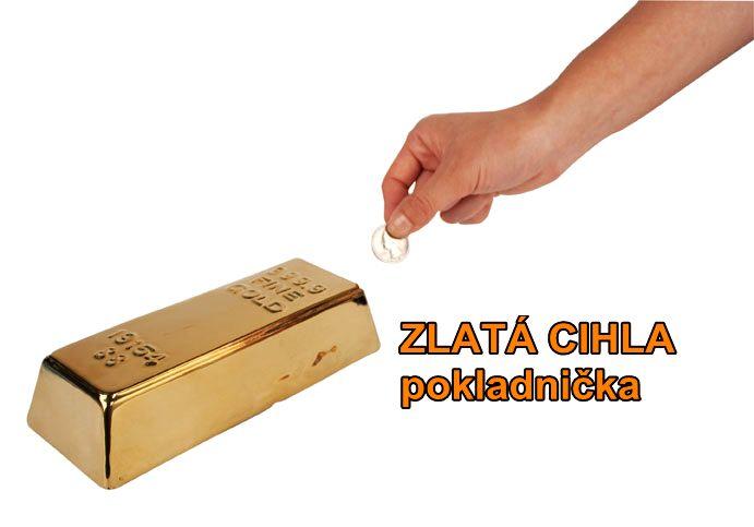 Pokladnička, pokladnička pre deti zlatá tehla, tehlička, cihla