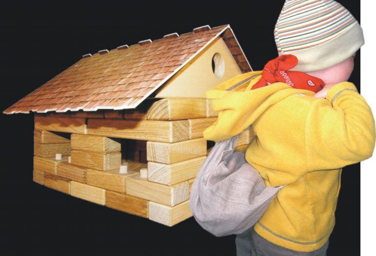 Drevená garáž s autíčkom stavebnica | drevené hračky