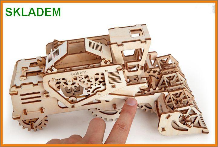 kombajn-stavebnice Kombajn mechanické puzzle, 3D technická stavebnice, drevená hračka