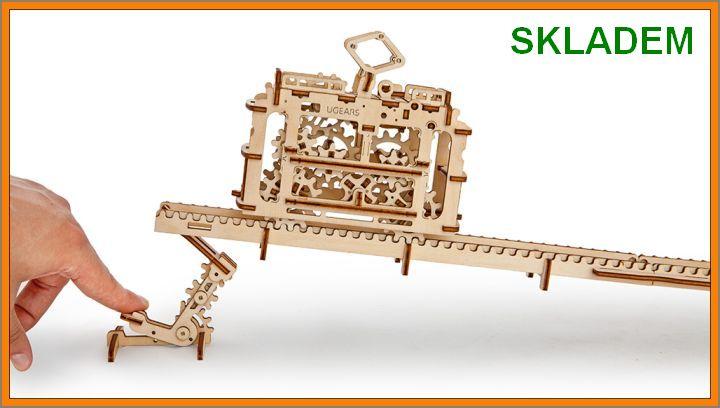 puzzle-tramvaj Električka mechanická technické stavebnice, drevené hračky