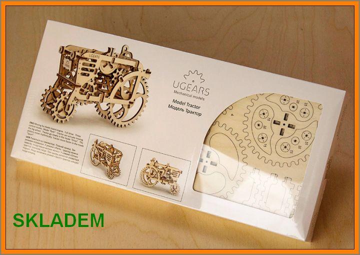 Traktor drevené puzzle, 3D technická stavebnice hračka