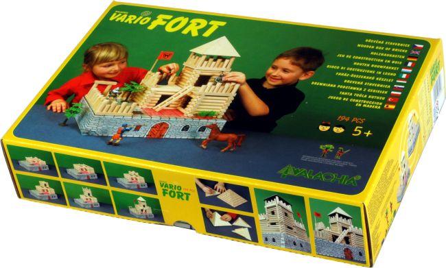 Detská stavebnica z dreva obsahuje skladacie a rozkladacie modely stavieb,