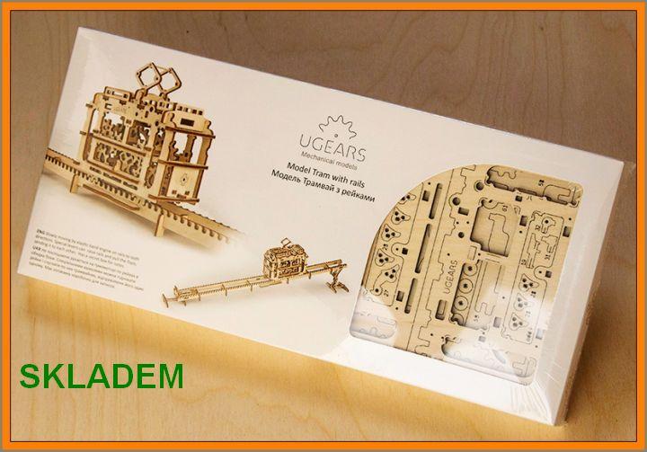 Električka mechanická technické stavebnice, drevené hračky