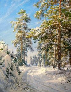 zima priroda krajina reprodukcie obrazov drevené ramy