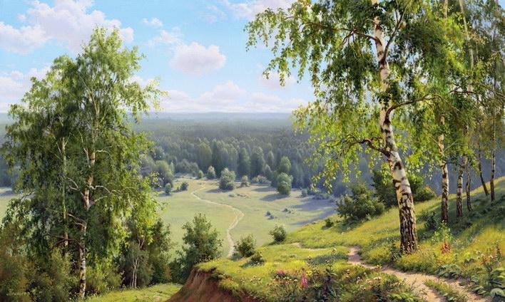 priroda krajina reproduktce obrazov drevené retro rámy