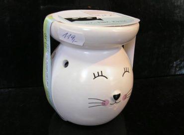 Biela aromalampa mačka, mačička so sviečkou