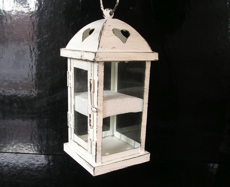 Biela dekoračná lampáš, lampa na sviečku