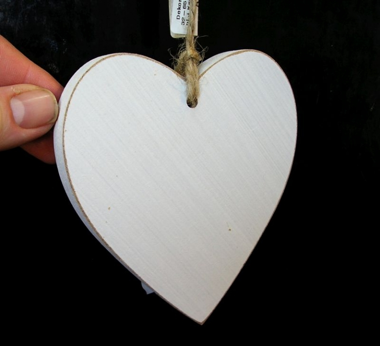 Biele drevené srdce, srdiečko z lásky, závesná dekorácia