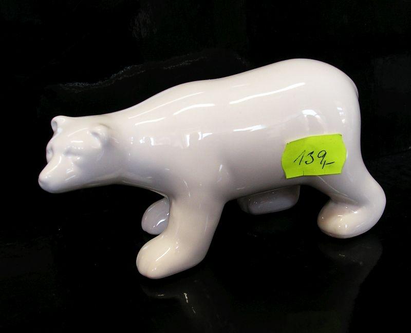Biely keramický medveď, dekorácie darček