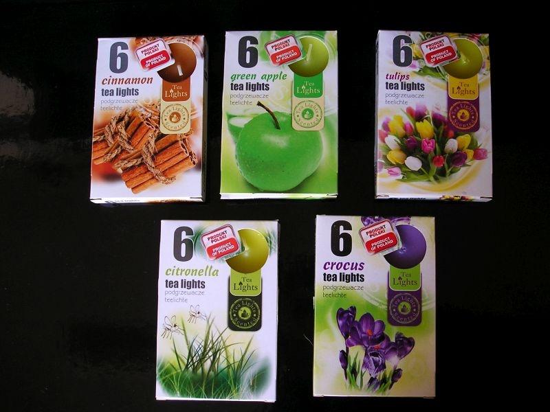 Čajové vonné sviečky škorica, tulipan, citronela, krokus, zelený čaj
