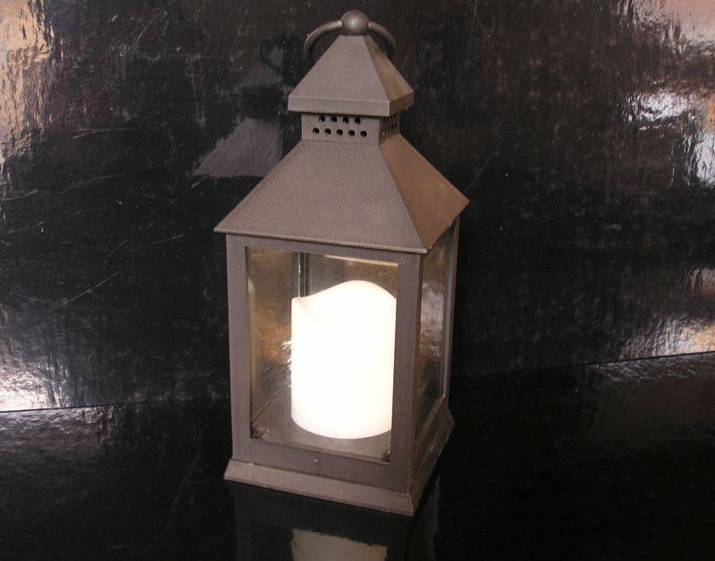Čierna lampáš na batérie, bytové dekorácie