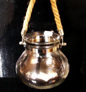 Číra strieborná závesná lampáš, dekoračné sklo, lampa