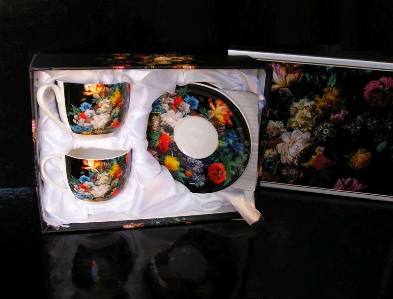 Darčekový set na kávu a čaj   šálka, pošálek kvetina