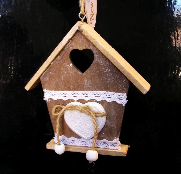 Drevený domček, domček, závesná dekorácia