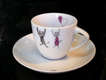 Mačky Mocca 0,13 l šálka a podšálka káva, kafé