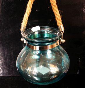 Modrá závesná lampáš lampa na sviečku či dekorovanie