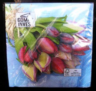 Papierové obrúsky tulipány dekoračné s potlačou, vzorom kvetín