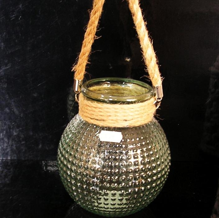Sklenená dekoračna zelená váza či svietnik.