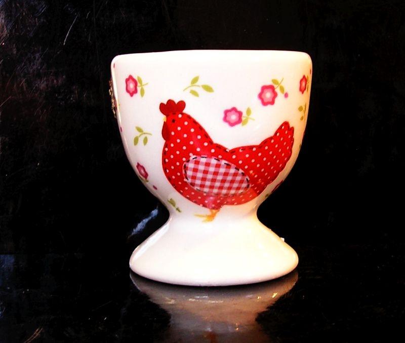 Stojanček na varené vajcia, keramický červený