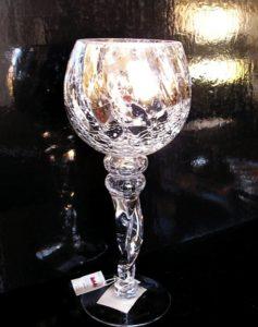 Strieborný sklenený svietnik z praskaného skla