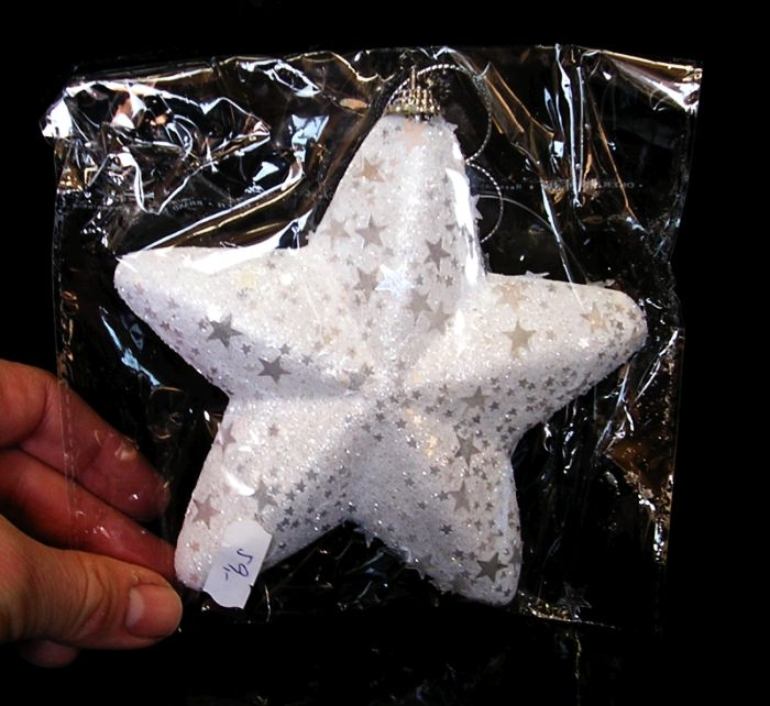Vianočná biela Striberná dekoračná hviezda na stromček