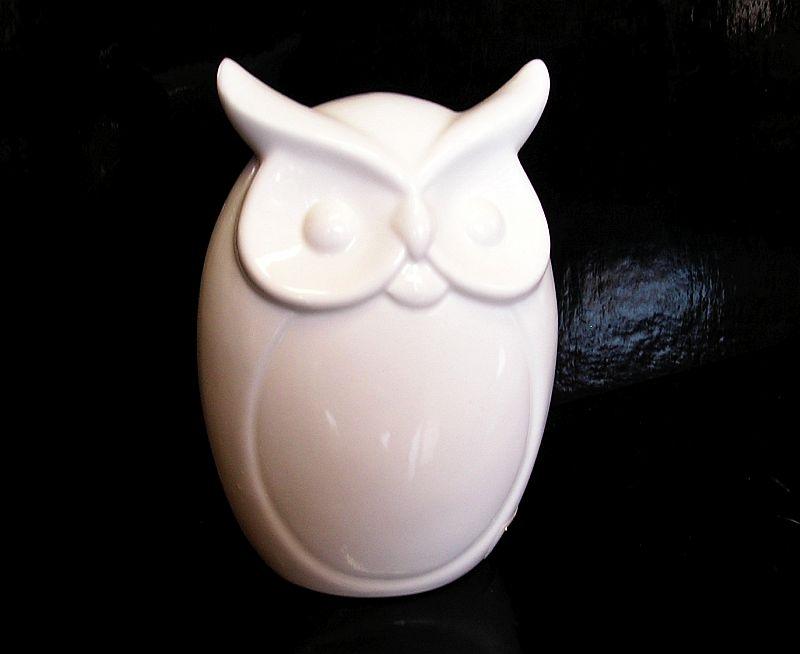 Výr, biela sova keramická figúrka dekorácie