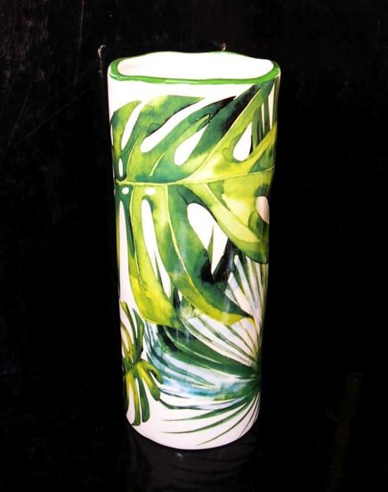 Zelená keramická váza valec na kvety, dekorácie