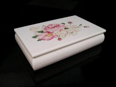 Biele šperkovnice, motív ruže, krabička na šperky