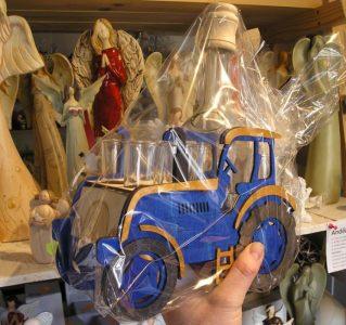 Modrý traktor | Darček fľaša pre traktoristu | SKLO na alkohol