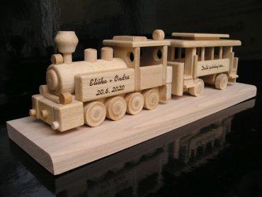 Ajándék vasúti munkás, favonat, mozdony