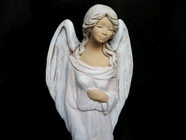Sadrový biely anjel, soška, darček pre ženu